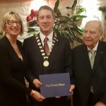 Presidentof Wexford Rotary receiving his Paul Harris Felloship form Jurgen Sassmanhausen and Vice President Maura Bell