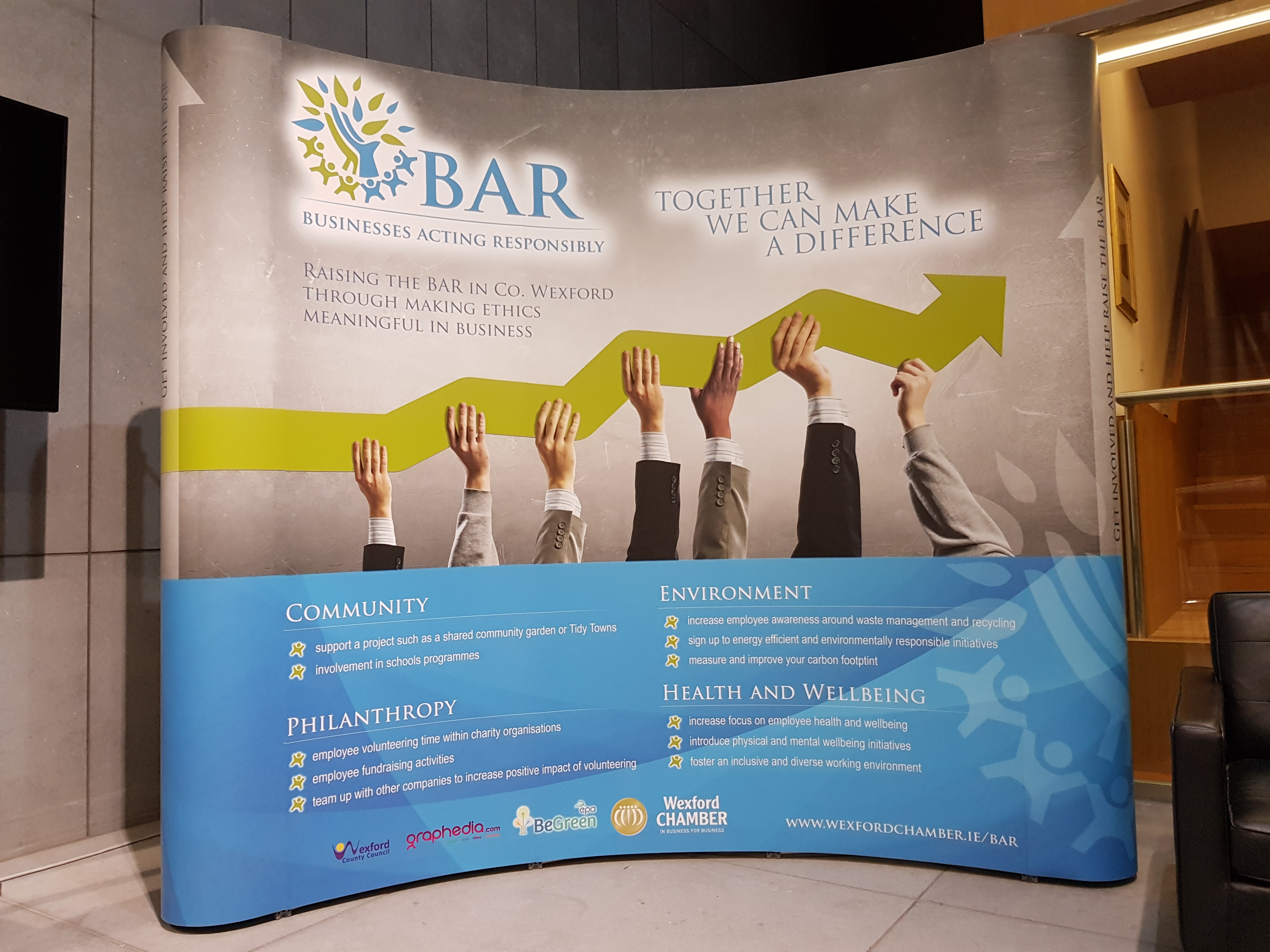 business acting resposibly (BAR) 3 x 3 pop up display