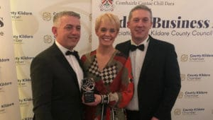 Graphedia Win Cusomter Excellence Award, pictured here with Allan Shine CEO of County Kildare Chamber, Sarah & Niall Reck from Graphedia
