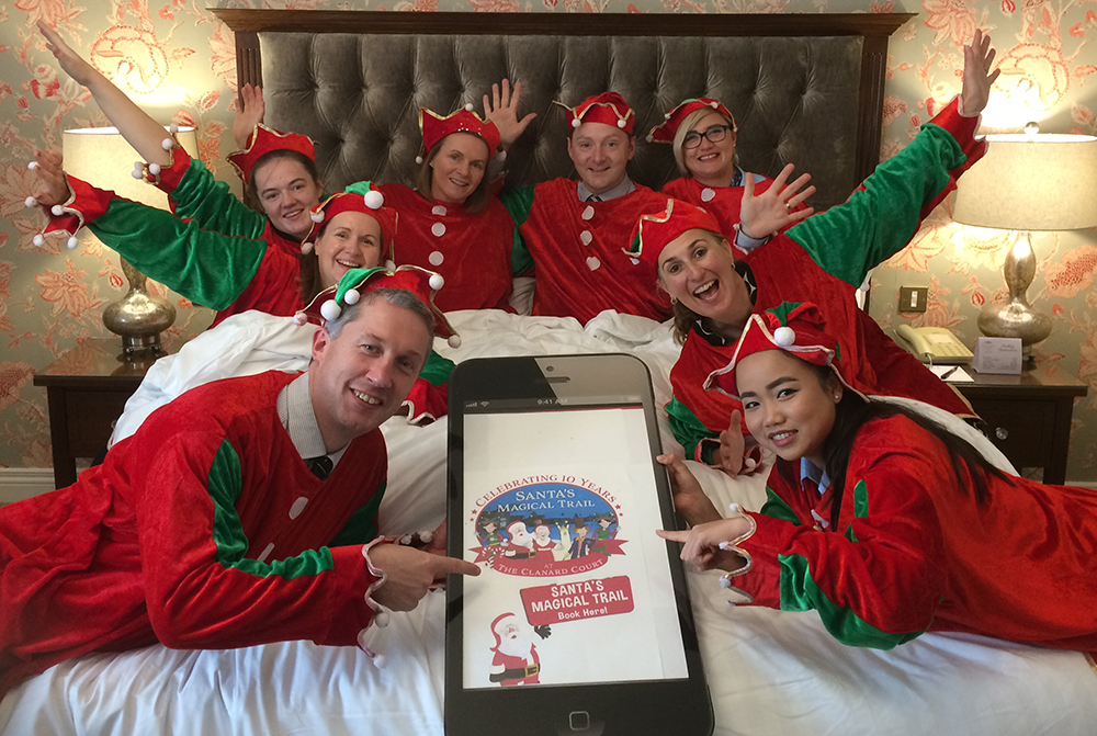 Santas MAgical Trail 2018 Launch, Niall from Graphedia, dressed up as an elf with the team from Clanard Court hotel